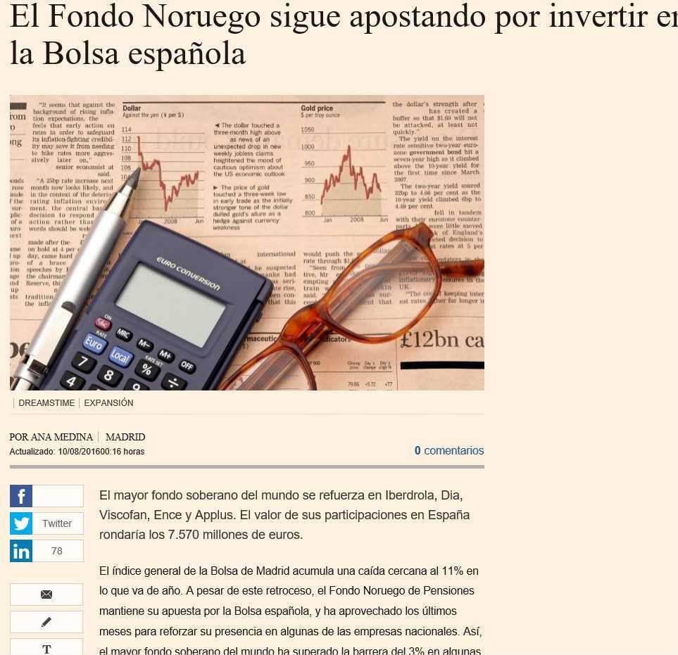 El Fondo Noruego sigue apostando por invertir en la Bolsa española - Microsoft Edge